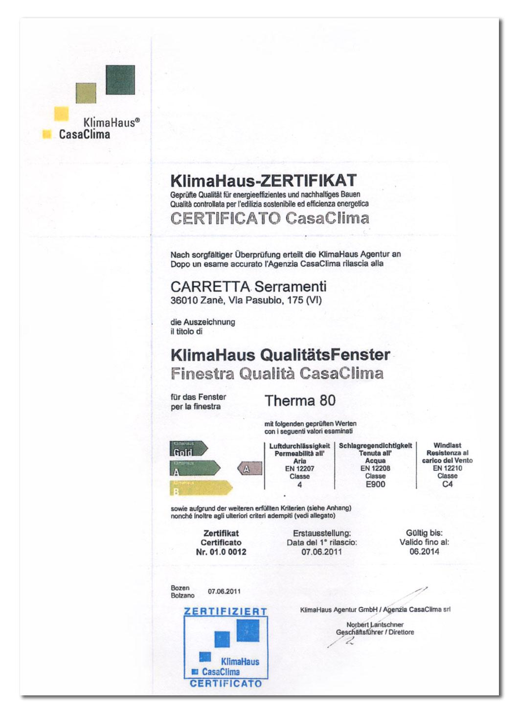 Carretta Serramenti Certificazione CasaClima KlimaHaus finestra qualità