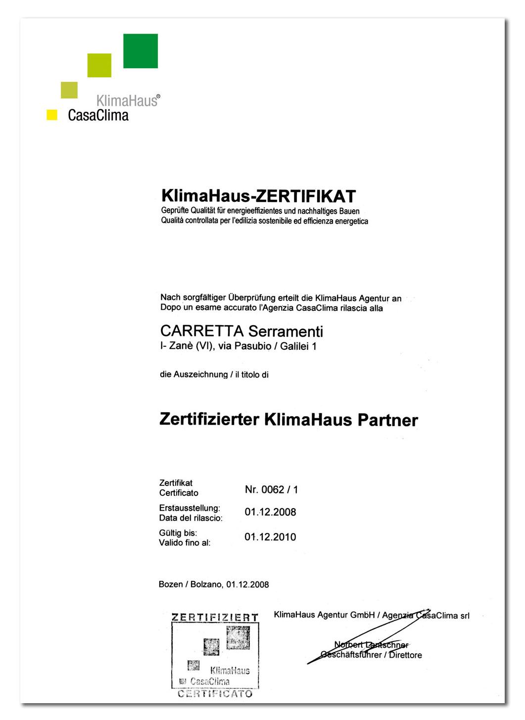 Carretta Serramenti Certificazione CasaClima KlimaHaus