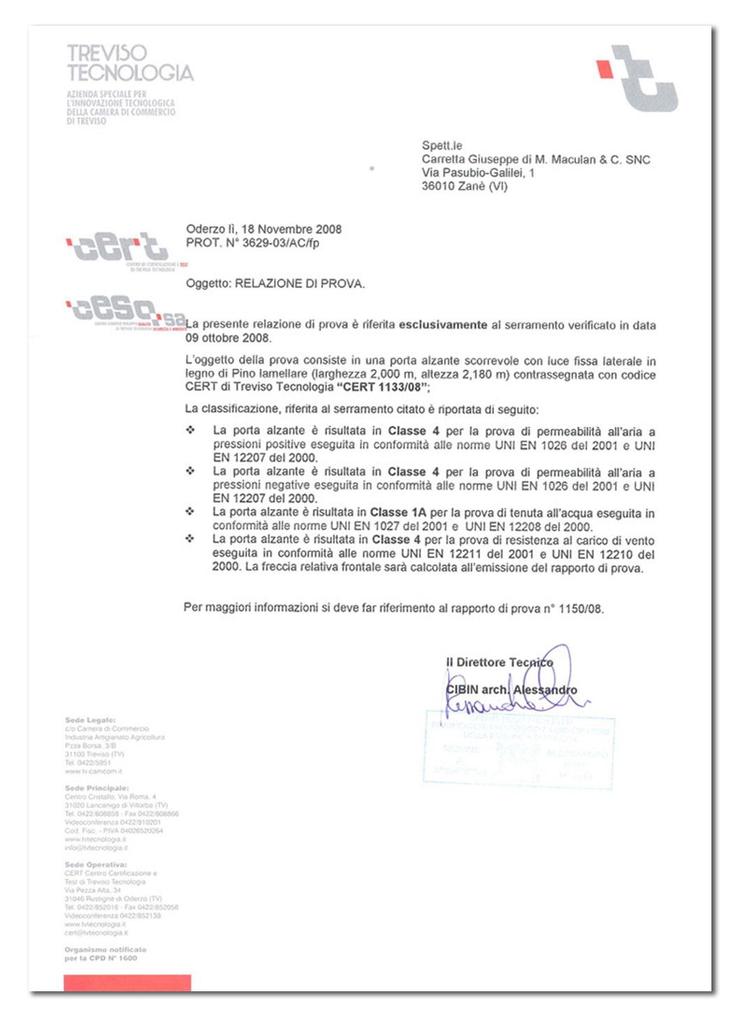 Carretta Serramenti Certificazione Cert Treviso Tecnologia