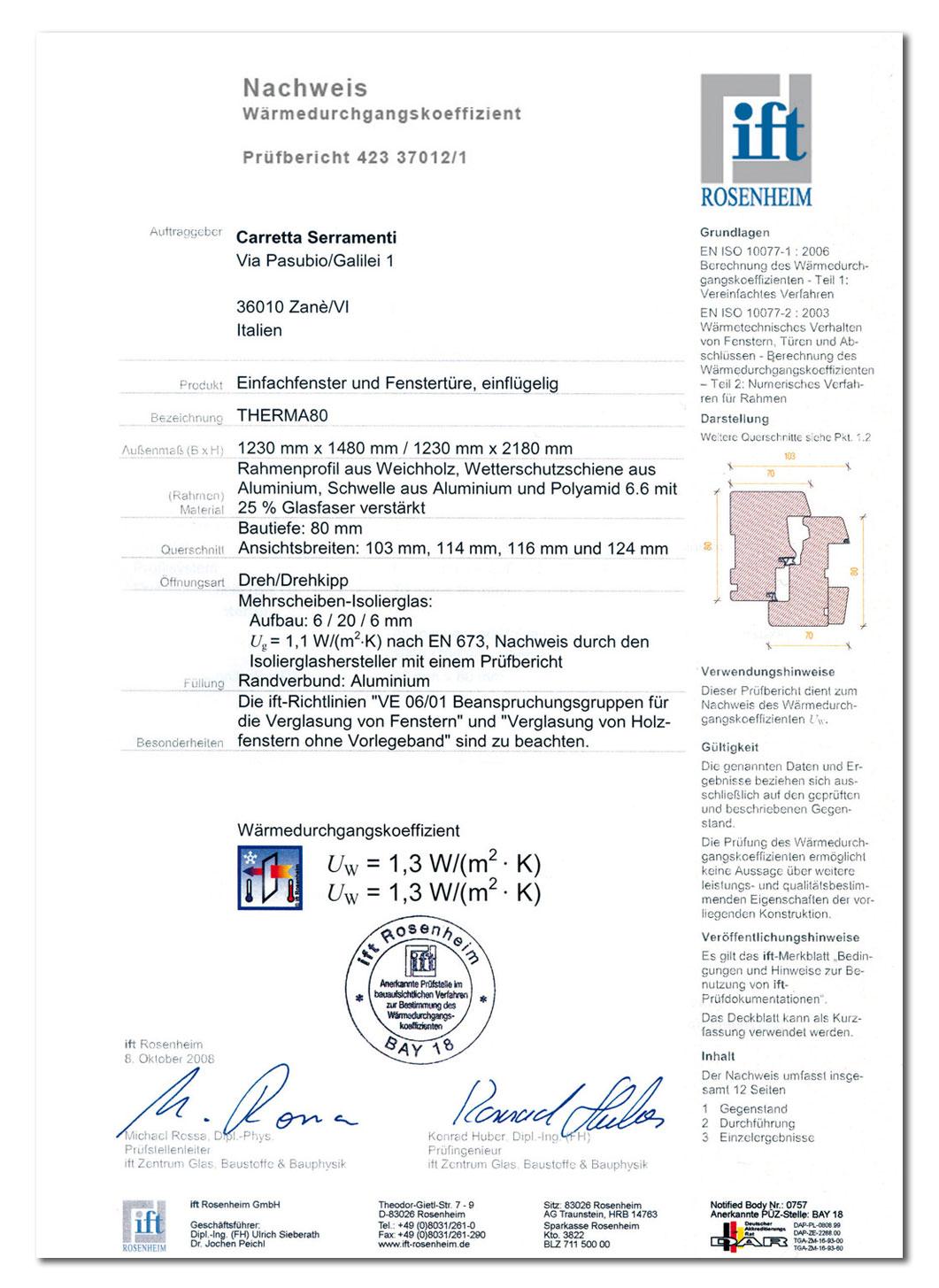 Carretta Serramenti Certificazione Ift Rosenheim