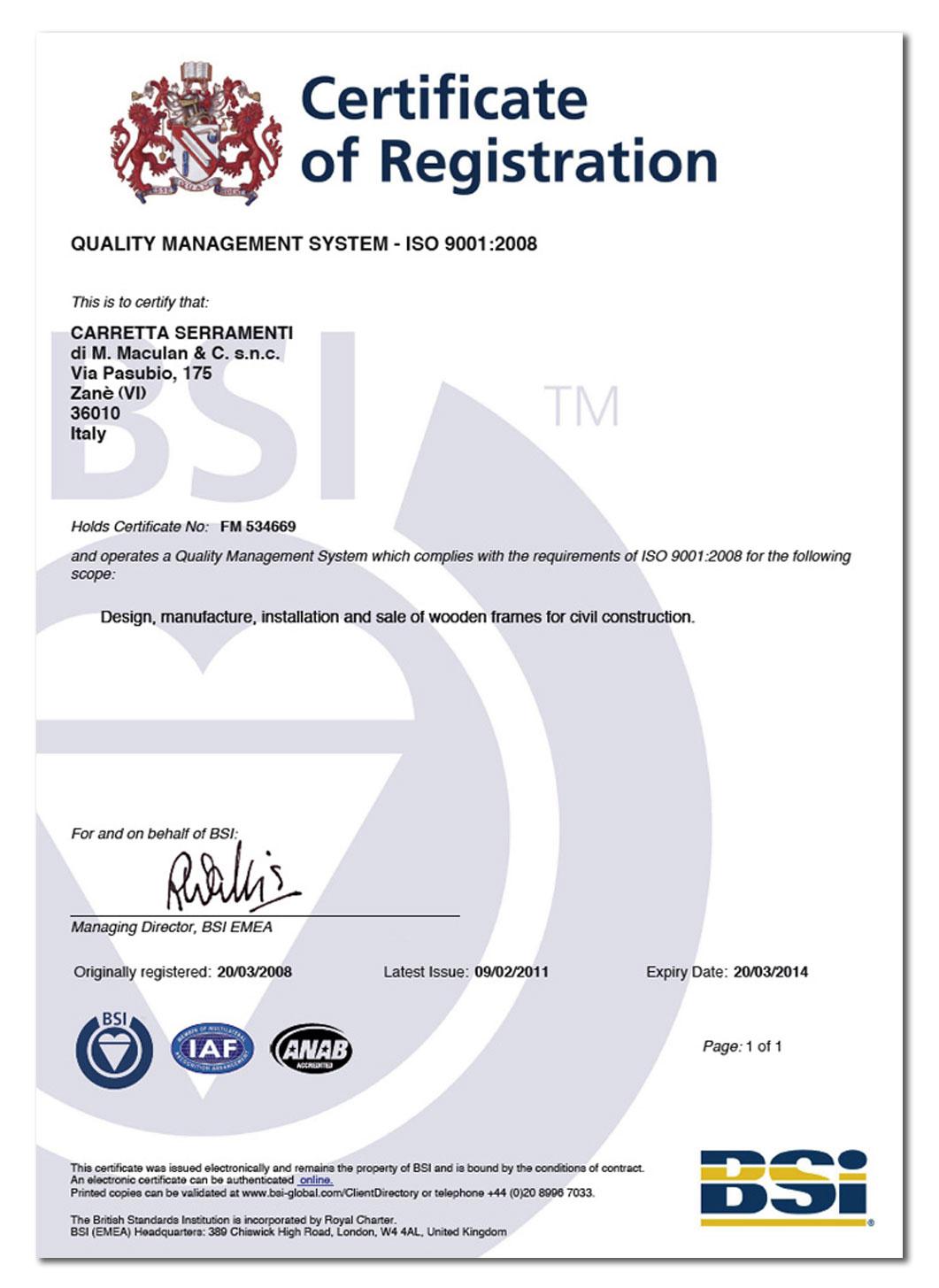 Carretta Serramenti Certificazione Quality Management System