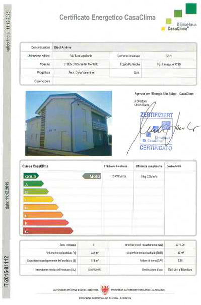 Carretta Serramenti Certificato Energetico Casaclima Klimahaus