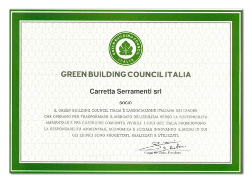 Carretta Serramenti Certificato Green Building Council Italia