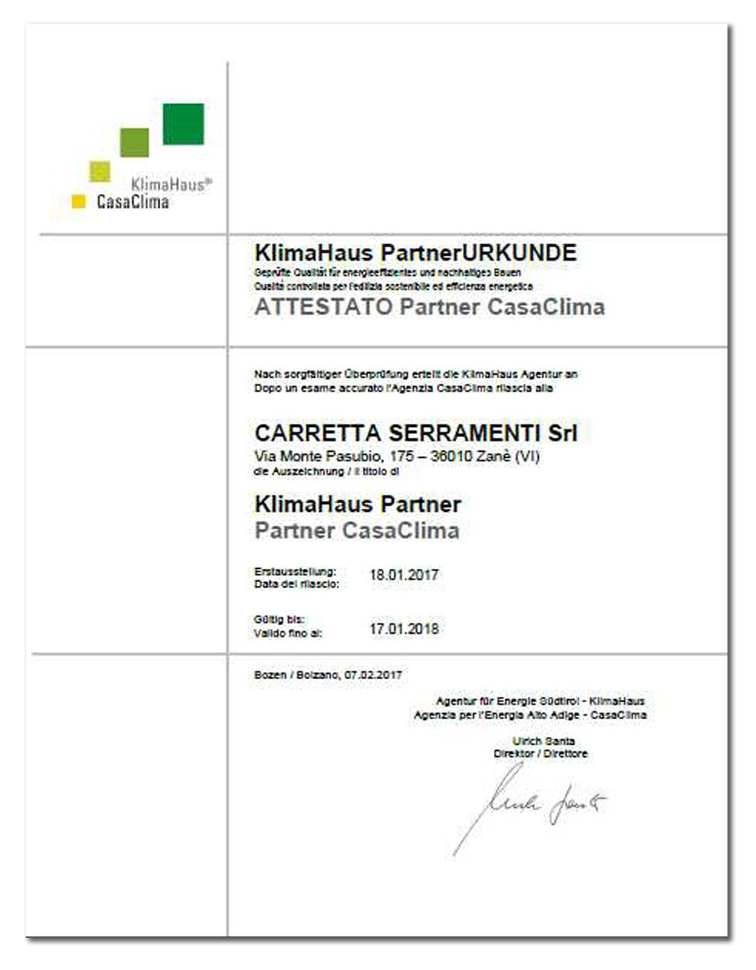 Carretta Serramenti Certificato Partner Casaclima Klimahaus