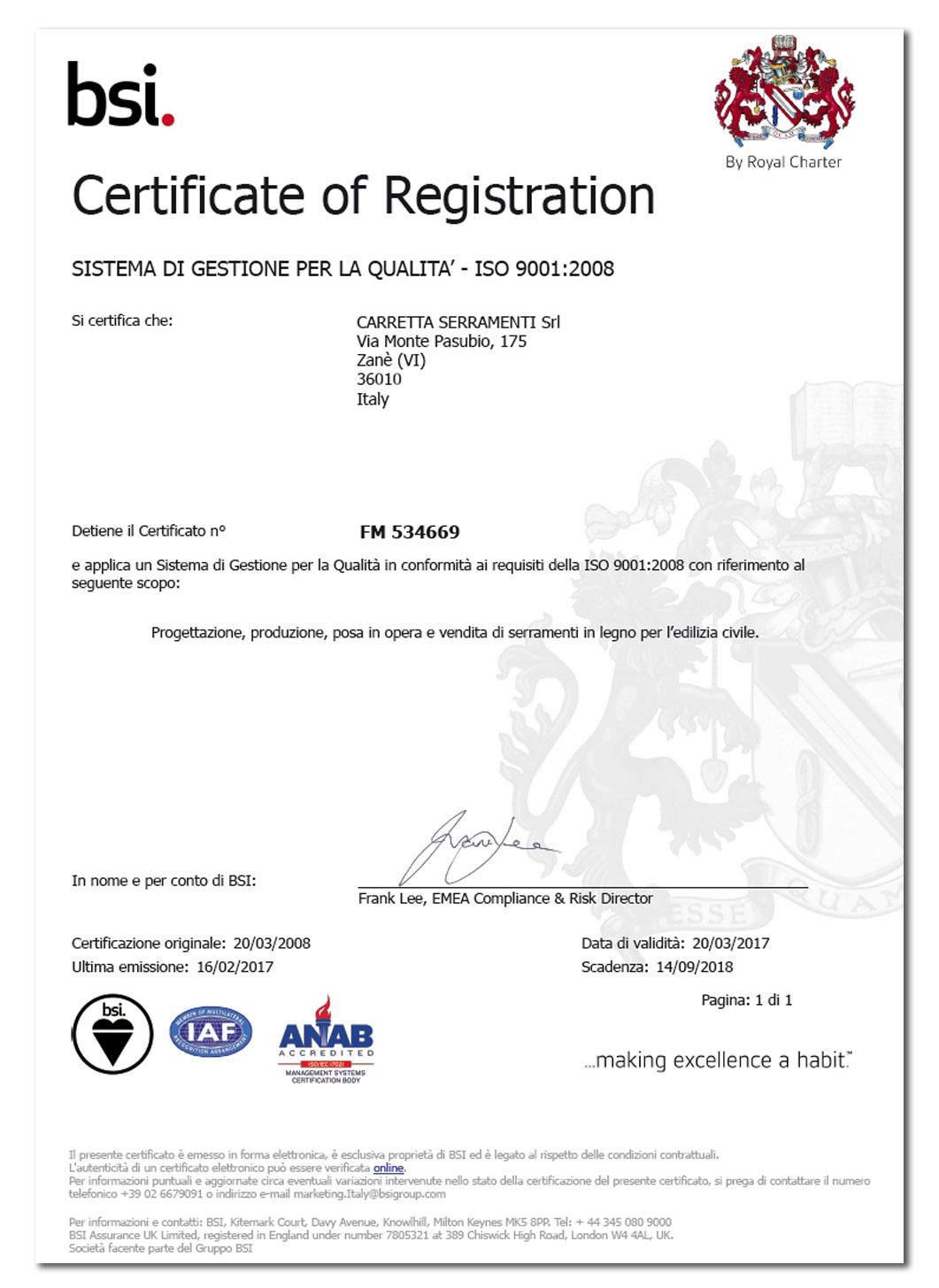 Carretta Serramenti Certificato Qualità BSI