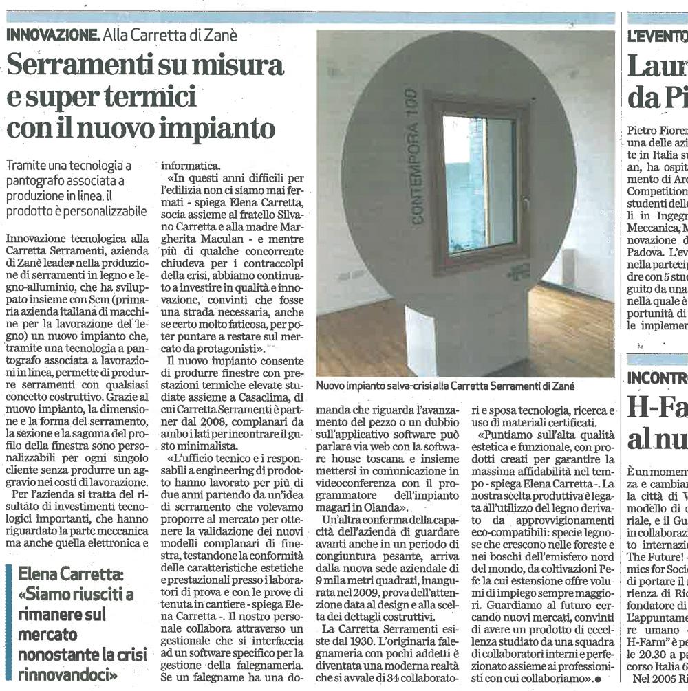 Carretta Serramenti produzione finestre in legno e alluminio articolo Giornale di Vicenza