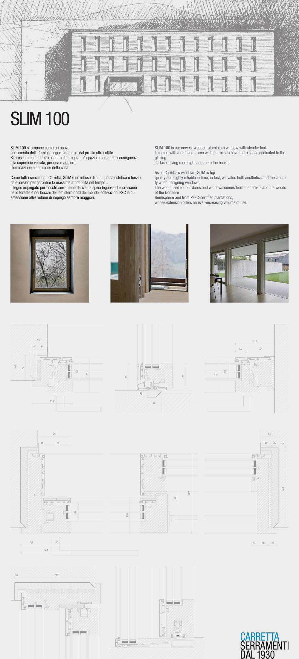 Carretta Serramenti produzione finestre in legno e alluminio Slim 100