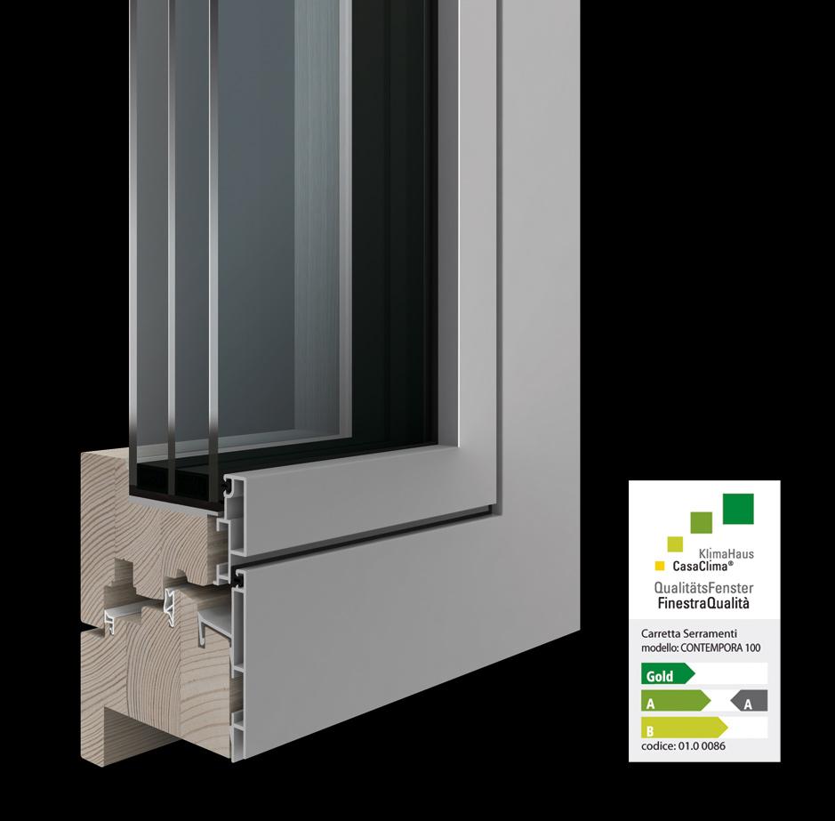 Carretta Serramenti produzione finestre in legno e alluminio Contempora100 Finestra Qualità CasaClima KlimaHaus