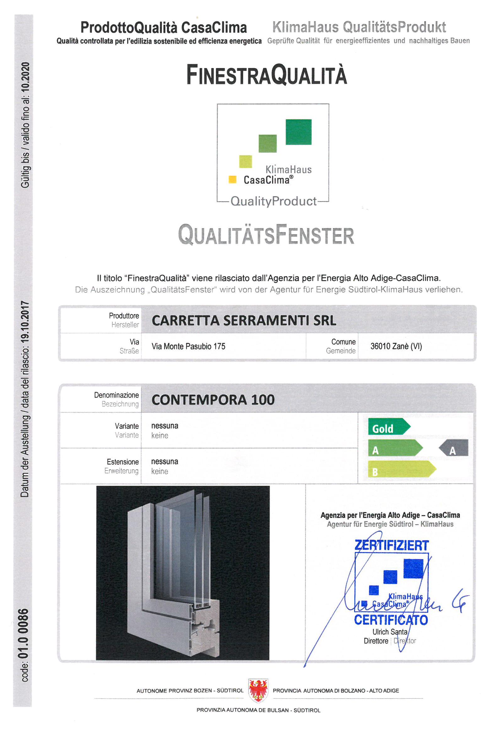 Carretta Serramenti produzione finestre in legno e alluminio Contempora 100 Certificato Qualità CasaClima KlimaHaus